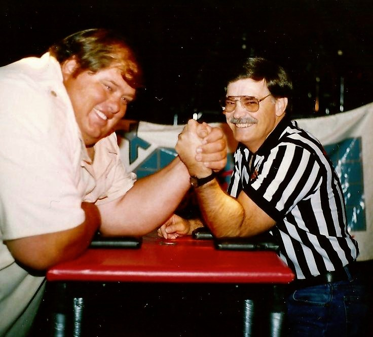 On the left is the late Cleve Dean the greatest armwrester to ever live