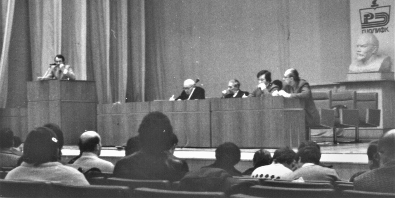 Выступает представитель Спорткомитета СССР А. Северьянов (Фото из архива Л.А. Остапенко)